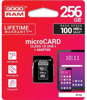 microSD 256GB CARD class 10 UHS I + adapter - retail blister